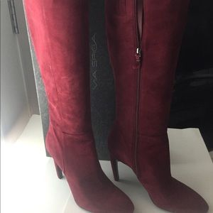 New Via Spiga Bethany Dark Red Suede Tall Boot